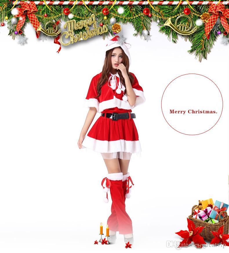 9b490ebac3 Red Cheap Christmas Festival Party Dresses With Wraps Cosplay Xmas Hats  Cloaks Sash Skirts Leg Warmers Winter Warm Women Girls Dress Night Dresses  Online ...