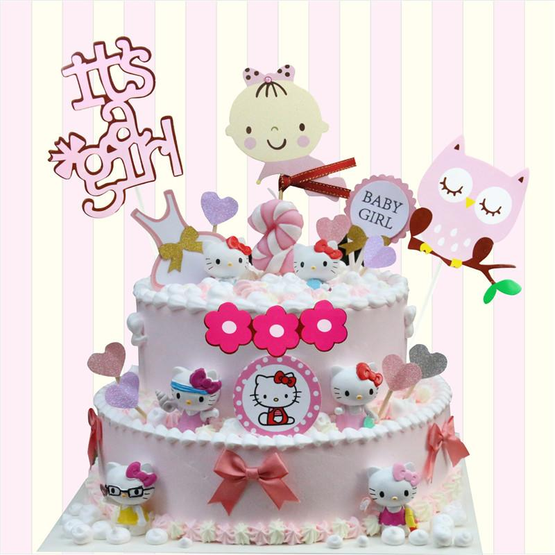 2019 Cute Owl Flower Happy Birthday Cake Toppers Decoration Kids