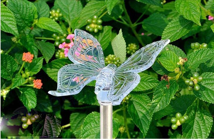Luzes de Estaca Solar Ao Ar Livre Jardim Cor Chaning Luzes LED com Clear Butterfly Dragonfly Colibri Stake Mixed para Jardim Ao Ar Livre Pathwa