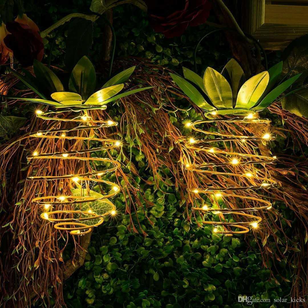 Luci Da Esterno Solari.Lanterne A Sospensione Ananas A Luci Solari 3 Confezione Da 30 Led Luci Da Giardino A Led Per Esterni