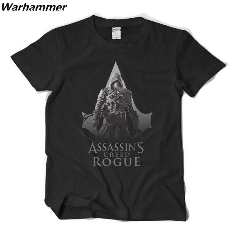 Gioco Assassin's Creed T-shirt Uomo manica corta O-Collo in cotone Tee Shirt Homme Stampa giocatori Cosplay Uomo T shirt Nero XXL Drop Shipping Brasile