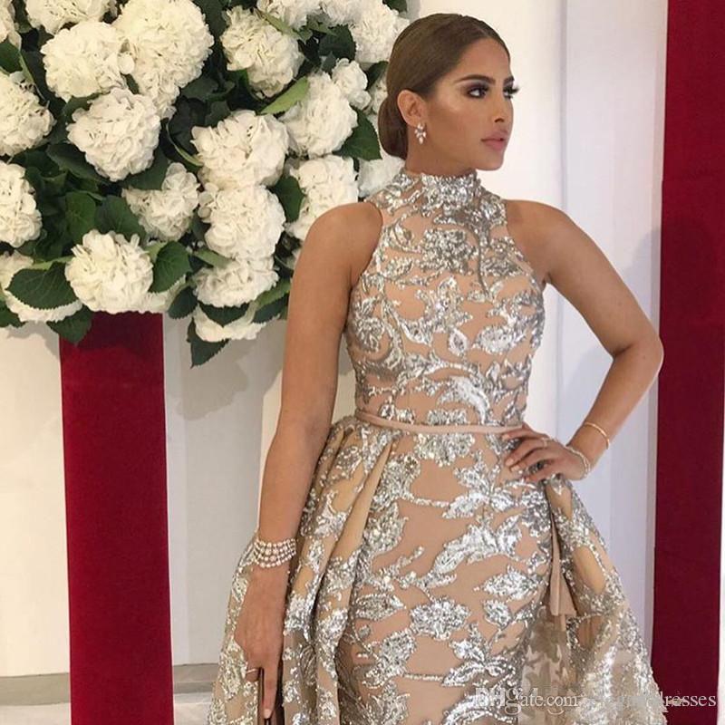 Yousef Aljasmi 2021 Bling Bling Dantel Abiye Dubai Arapça Sequins Balo Abiye Overkirt Ayrılabilir Tren Şampanya Parti Abiye