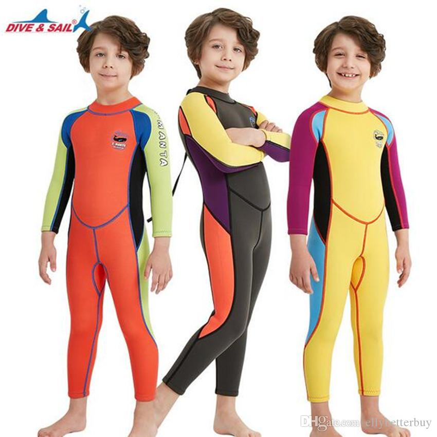 d956369693fdf 2019 DIVE SAIL 2.5MM Children One Piece Long Sleeve Surfing Snorkeling Diving  Wetsuit Kids Boys Girl Rash Guards Swimming Suit From Ellybetterbuy