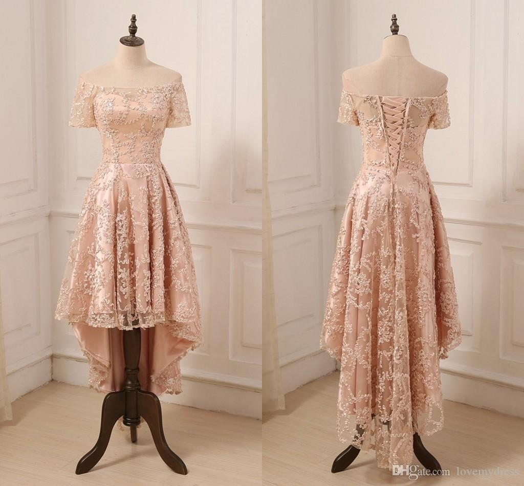 Rose Gold Lace Prom Dress High Low Off Shoulder With Sleeves 2019 Lace Up  Back Designer Cheap Evening Formal Gowns New Ball Gowns Long Dresses From  ... e06903d2c