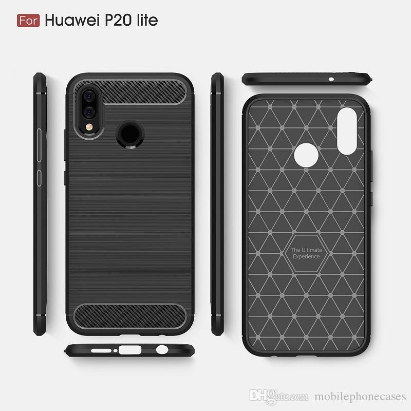 2018 New CellPhone Cases For Huawei P20 Lite Luxury Carbon Fiber heavy duty case for Huawei P20 Lite cover Free DHL shipping