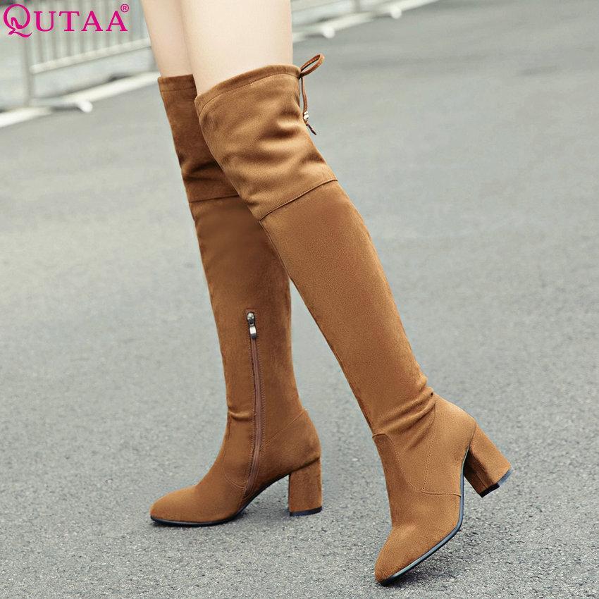be78ccf42462e Compre QUTAA 2019 Mujeres Sobre La Rodilla Botas Altas Moda Tacón Cuadrado  All Match Mujer Botas Zapatos De Invierno Tamaño 34 43 A  85.02 Del  Bluemoodd ...