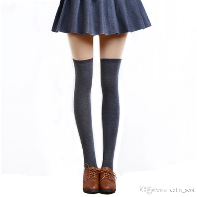 55c941cbf 2019 5 Solid Colors Fashion Sexy Warm Thigh High Over The Knee Socks Long  Cotton Stockings For Girls Ladies Women From Colin scot