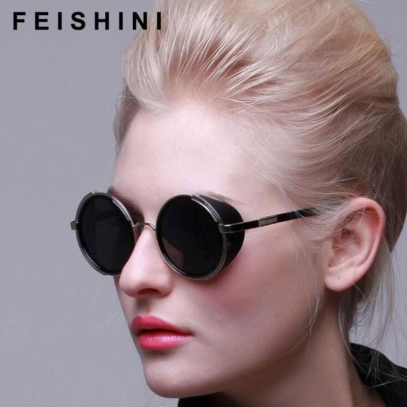 6b2757c1e3 Gold Metal Punk Polarized Sunglasses Men Round Gothic Steampunk Sunglasses  Womens Fashion Retro Vintage Shield Eyewear Shades Sunglasses Uk Polarised  ...