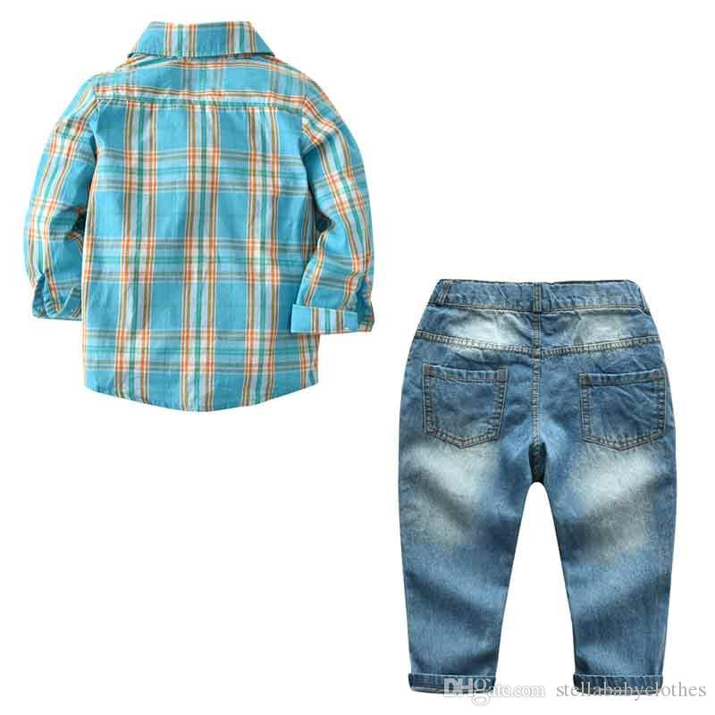 New Posh Spring Boy Clothes Cool Boys Plaid Shirt and Jeans Pant Clothing Set Spring Autumn Kids Clothes Hot Sales