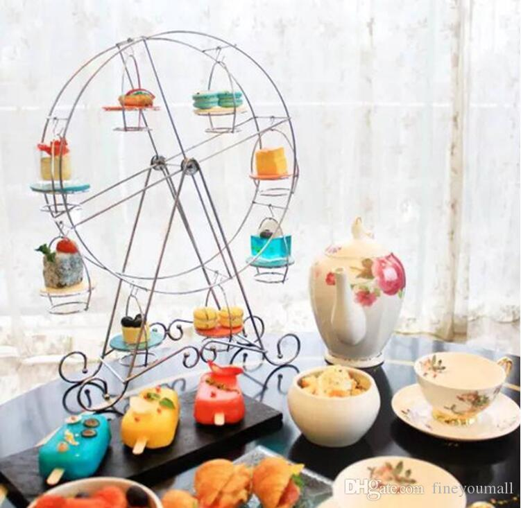 Practical Ferris Wheel 8 Cups Iron Silver Stainless Steel Cupcake