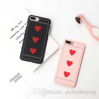SF red heart PC back case for iPhone7 plus,dull polish back cover for iPhone6/6S plus,simple slim phone case for iPhone5/5S/SE