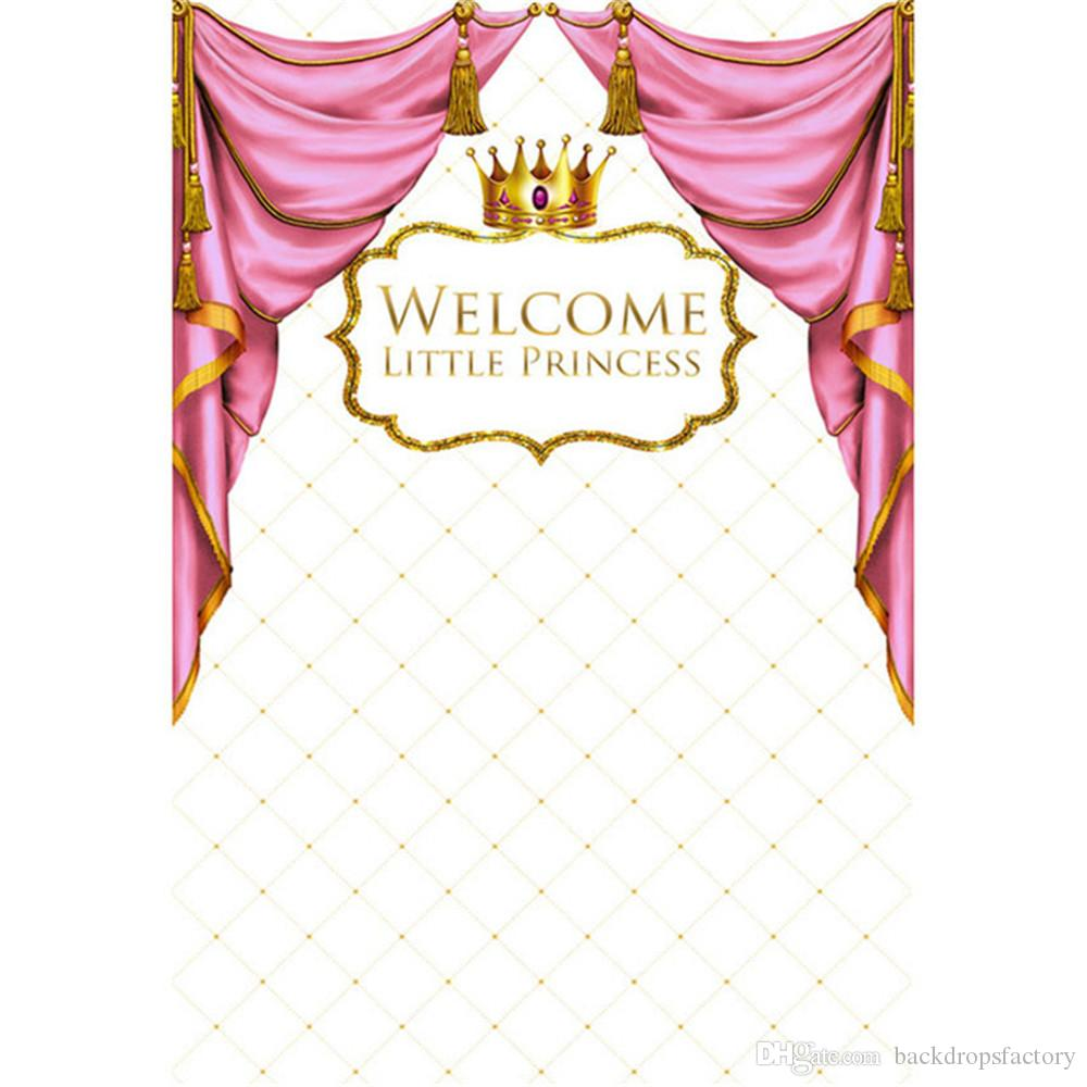 Pink Curtain Gold Crown Princess Backdrop Photography