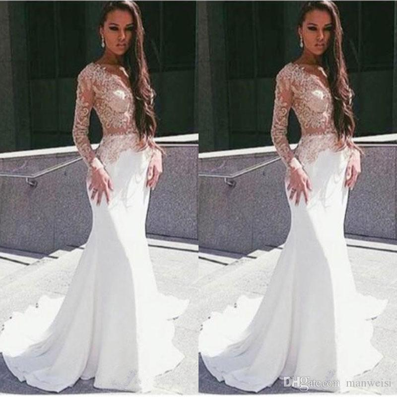 White Long Lseeve Lace Mermaid Prom Dresses