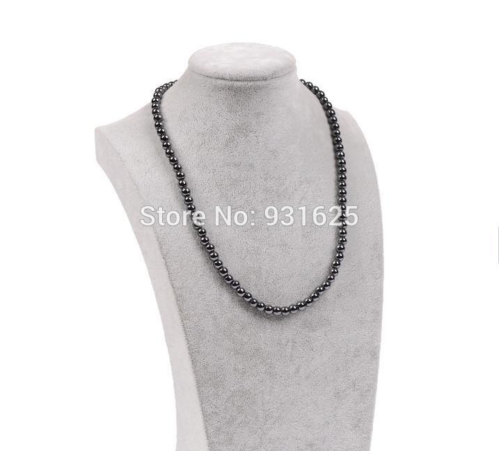 Großhandel Mode 6mm 8mm Magnetische Hämatit Runde Perlen Halskette Schwarz Magnetische Hämatit Männer Frauen Gesunde Schmuck Halskette