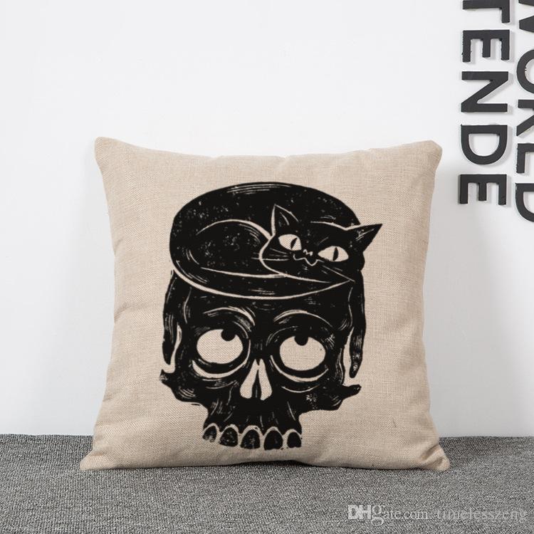 Nueva cabeza de calavera Funda de almohada 6 estilos esqueletos punky Cojín decorativo Funda de almohada Funda de almohada No incluye almohada