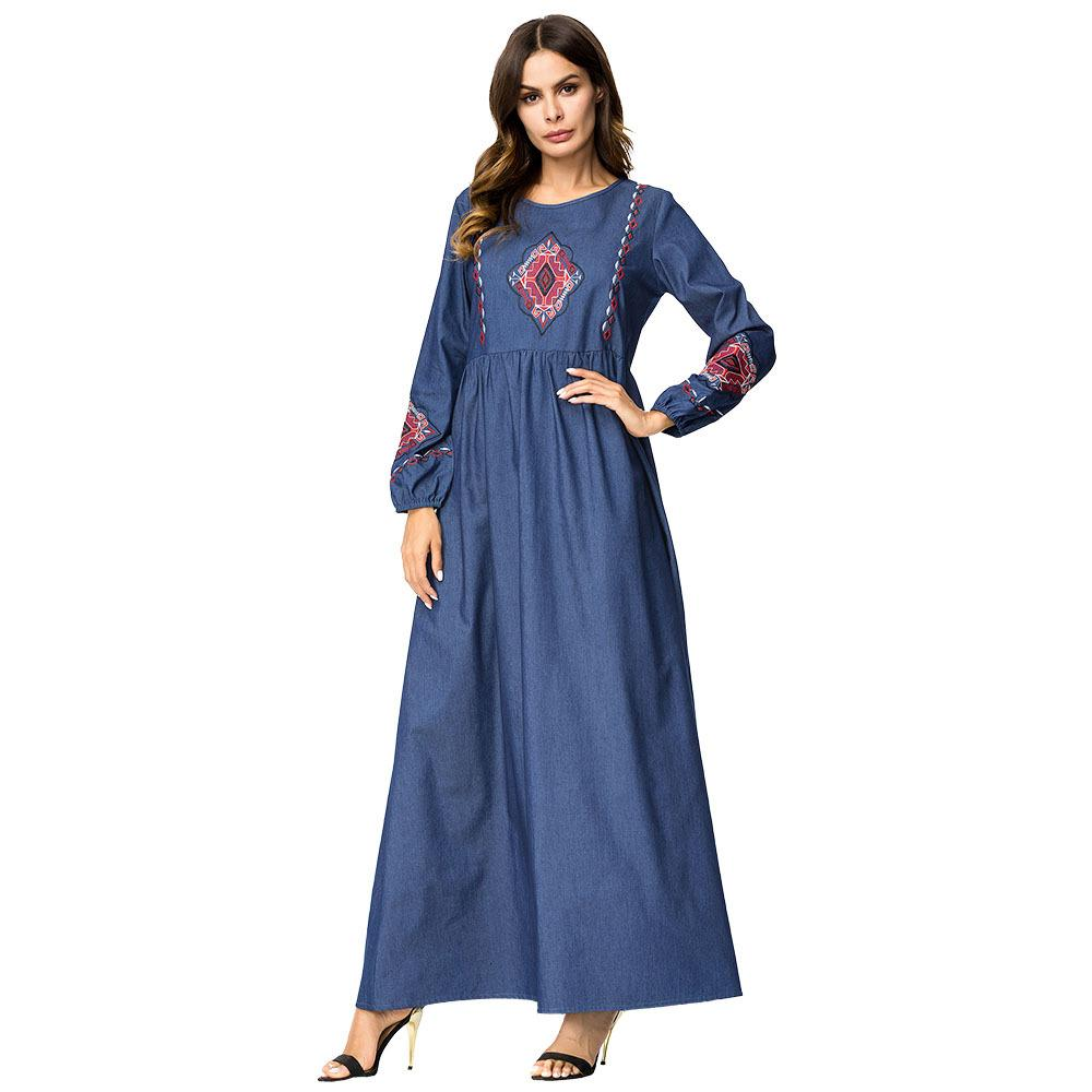 4addae8016 2019 187241 2018 Korean Style Plus Size Muslim Women Dress Autumn Fashion  Embroidery Denim Skirt Muslim Retro Long Sleeved Pleated Skirts Dresses  From ...