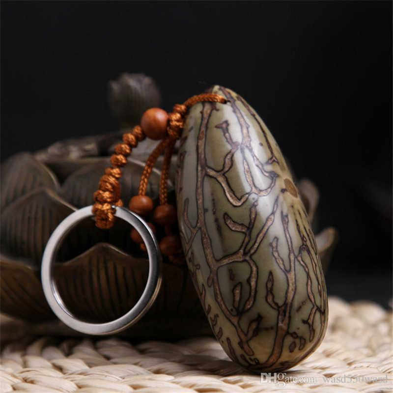 Natural Bodhi Keychain Car Key Rings Hand String Eighteen PuTizi Peace Pendant Keychain Key Rings Mobile Phone Chains