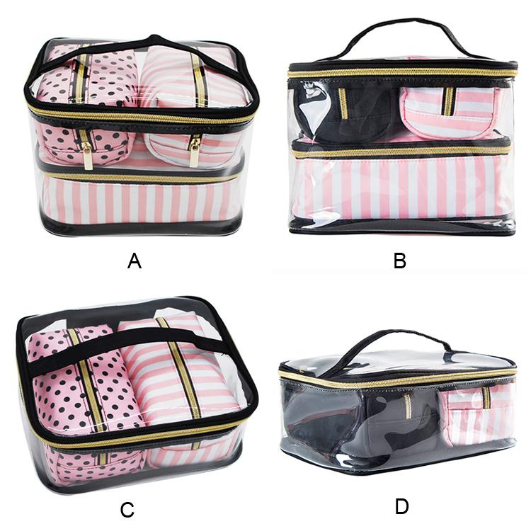 ec0e295203d6 PVC Transparent Cosmetic Bag Women s Pink Travel Waterproof Clear Wash  Organizer Pouch Beauty Makeup Case Accessories Supplies