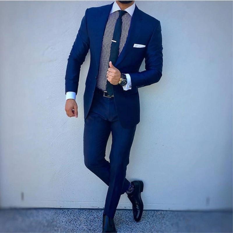 Compre Azul Marino   Negro Hombres De Negocios Traje Novio Boda Smoking  Superior Solapa Decoración Fit Blazer Hombres Dos Piezas Chaqueta Pantalones  306 A ... 359ec0db8ff2