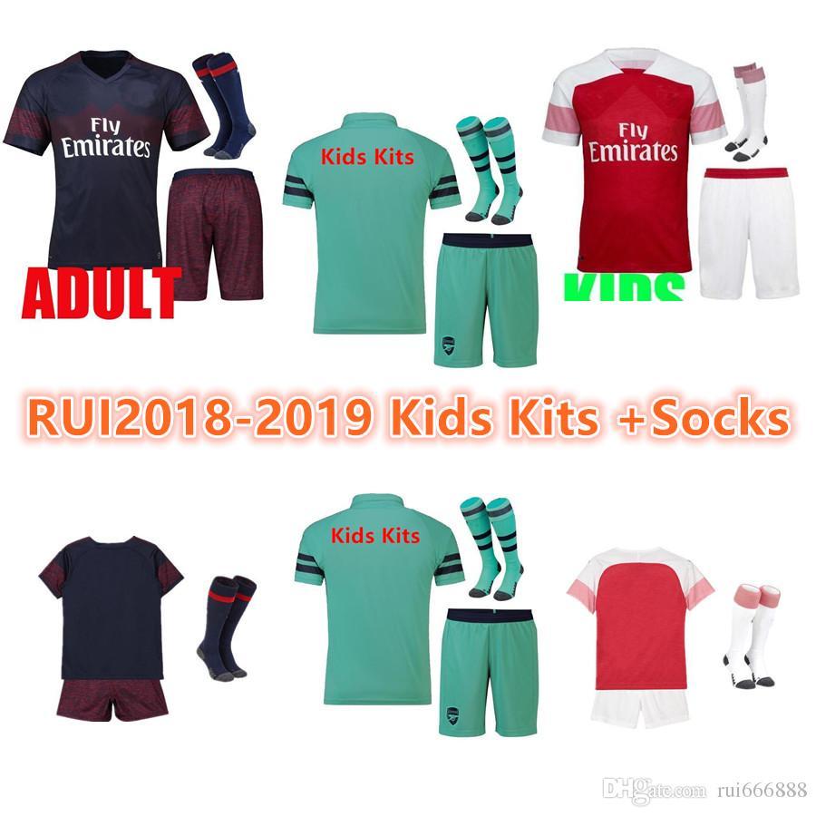buy popular c2b86 aae9d kidskits Arsenal soccer jersey 2018 2019 AUBAMEYANG OZIL JERSEY 18 19  LACAZETTE TORREIRA football kit Top KIDS SET soccer shirt