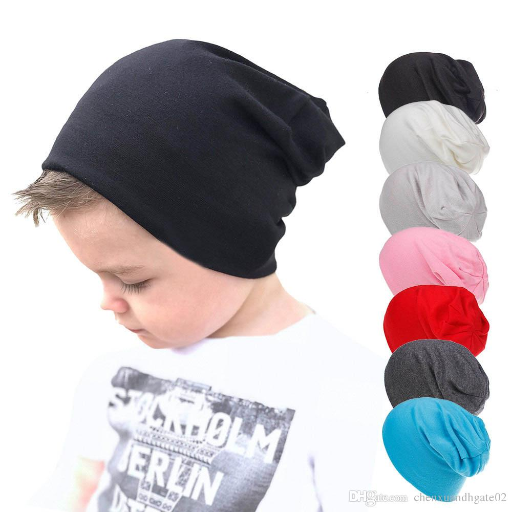 b342beaafd1 2019 2018 Kids Hat Cap Candy Solid Colors Boys Girls Baby Beanies Hats  Cotton Born Baby Hat Toddler Infant Caps New High Quality From  Chenxuandhgate02