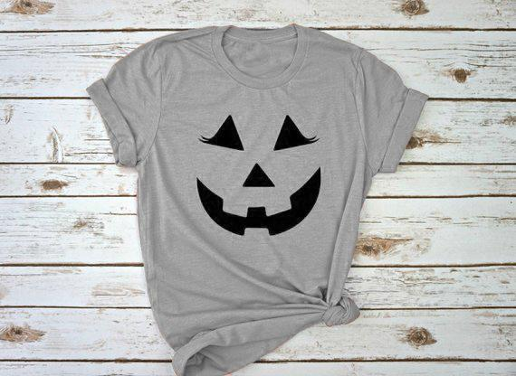 03be0289 Women's Tee Women Halloween T Shirt Gray Graphic Clothing Funnt Pumpkin  Halloween Gift Slogan Grunge Halloween Holiday Tee Drop Ship