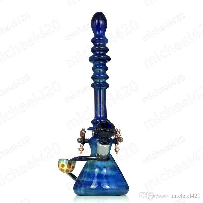 16,5 Zoll Glas Bongs Wasserpfeifen Bohrinsel Schöne blaue bunte handgemachte Dab Rigs Öl berauschende Bongs mit 4 Zubehör