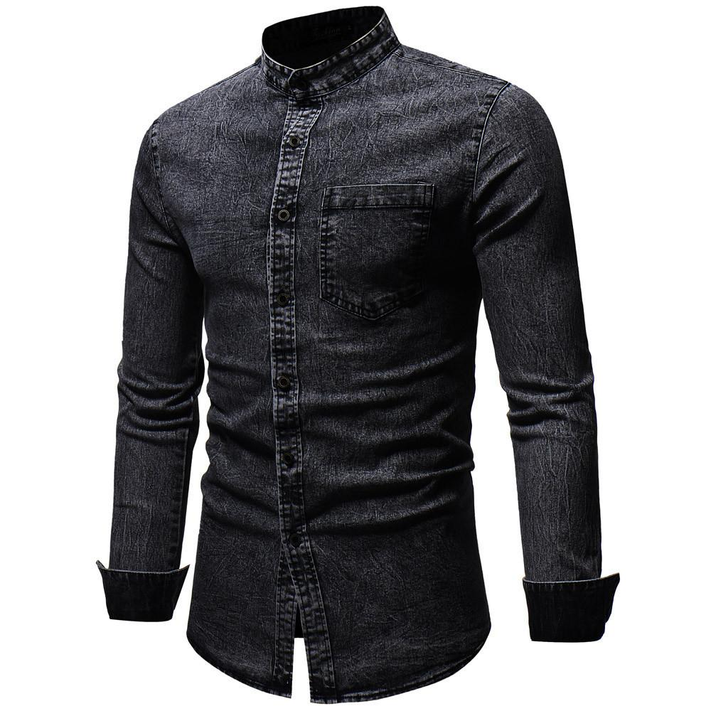 FeiTong Hommes chemise à manches longues Hommes Automne Hiver Vintage Distressed Solid Denim chemises à manches longues Haut chemise masculine chemise homme C18111601