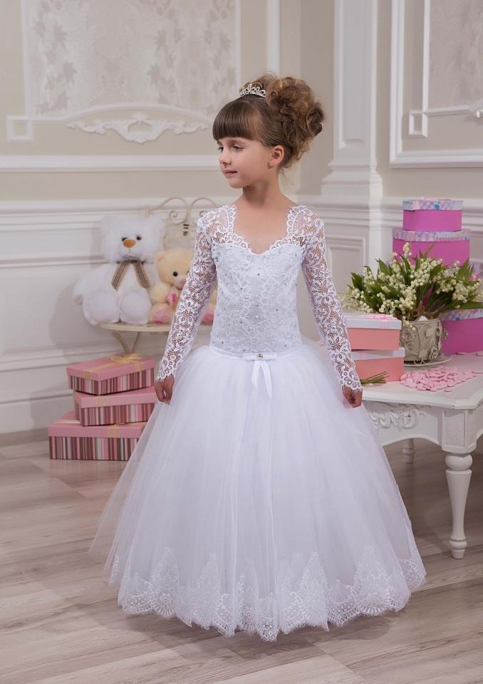 Grosshandel Vintage Langarm Weiss V Ausschnitt Kinder Kleid