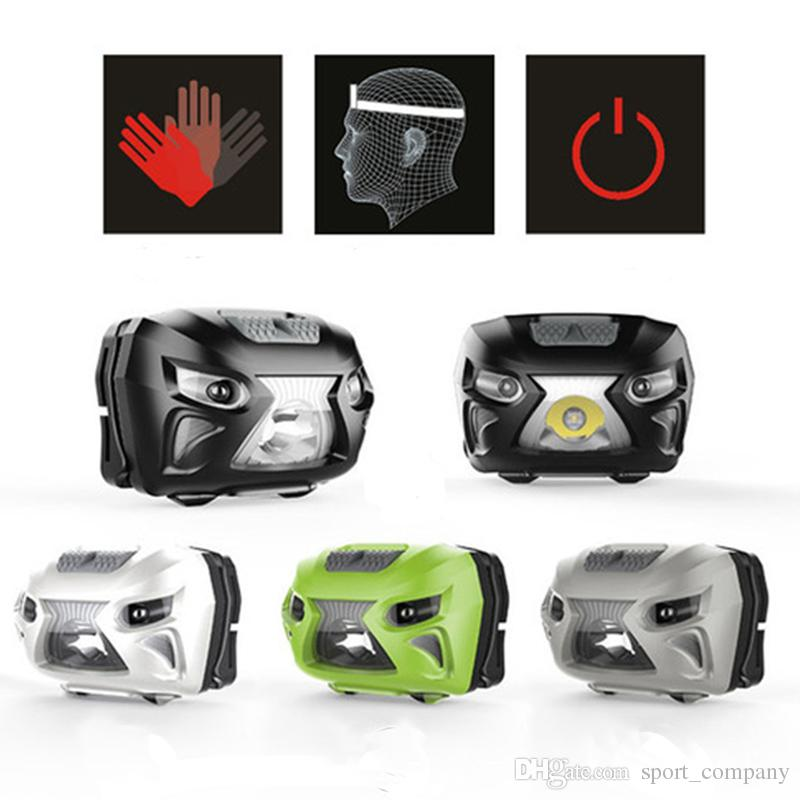 New Mini LED Motion Sensor Headlamp USB Rechargeable Induction IR Headlight 6 Modes Torch Lamp +USB Cable Adjustable Fishing Hiking Light
