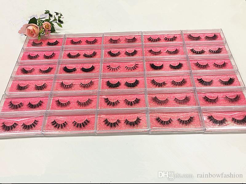 Kendi Marka Srashine 3D Vizon Kirpikler Pembe Glitter Kart Tam Şerit Lashes Uzun Ve Kalın 100% El Yapımı Özelleştirilmiş Ambalaj Bırak Nakliye