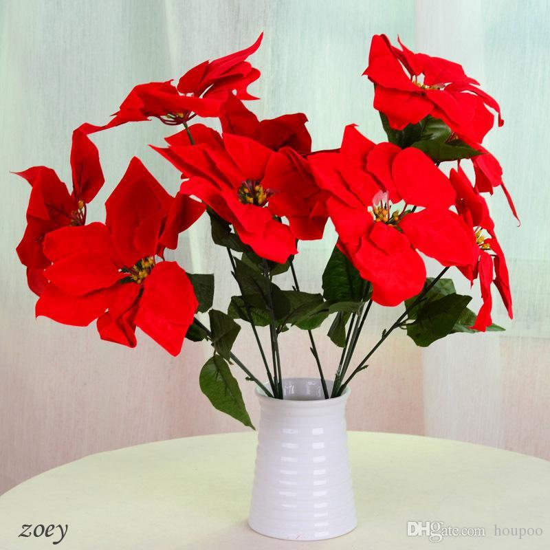 2019 7heads 19 Christmas Poinsettia Artificial Plants Silk Flowers