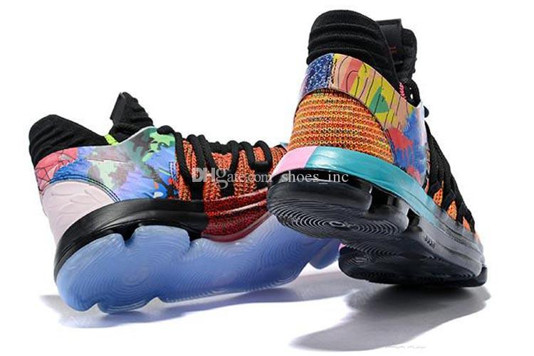 9ed9f1eb37fc 2019 2018 New Arrival What The KD X 10s Ice Blue Pink Green Sports  Basketball Shoes 10s Kevin Durant 10 EP Sneakers Shoes US 7 12 From  Shoes inc