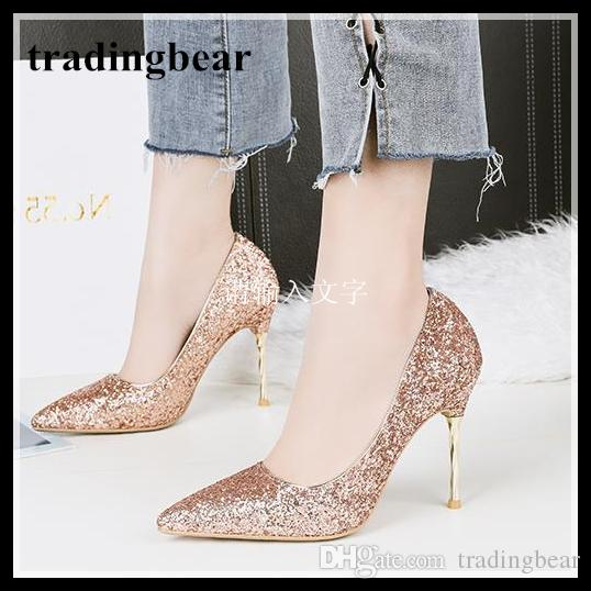 princess party events glitter sequined wedding shoes real leather shallow mouth thin high heels pointed shoes 8 colors extra size pay with paypal cheap price sale collections outlet store cheap price buy cheap many kinds of qpvuF20aNW