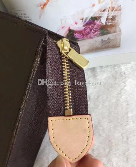 ! Women Cosmetic Bags Genuine Leather Plaid Clutch Bag 26*20cm Case Bag With Box 47542