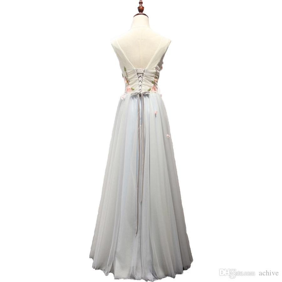 Hot Sale Beading Flowers Long Prom Dresses 2018 Tulle Silver Sexy Evening Party Gowns V Neck Beach Prom Dress Long Homecoming Dresses