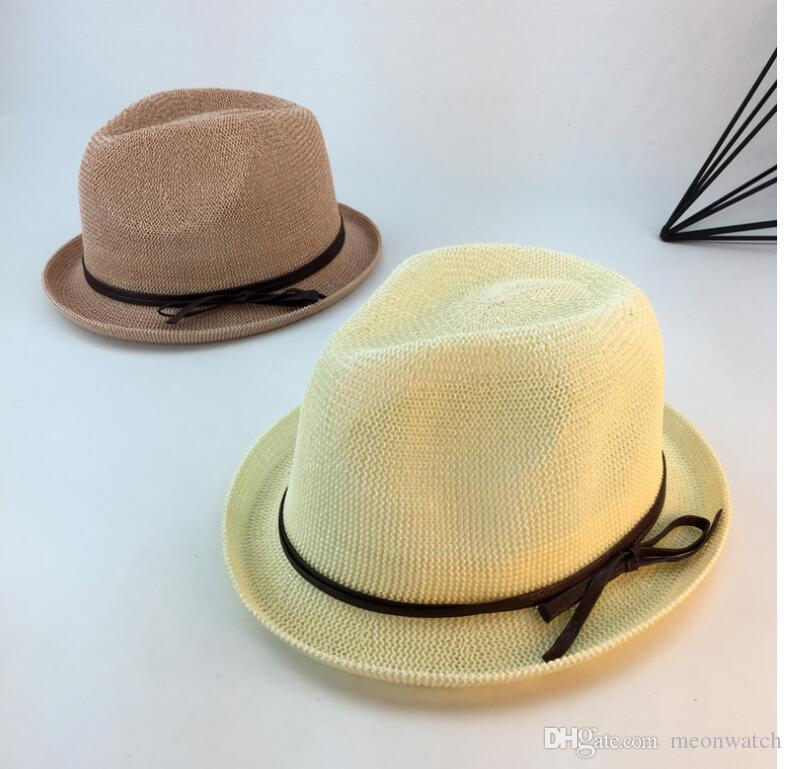 7914e97fad7e4 Lady Boater Sun Caps Bowknot Round Flat Top Straw Beach HatMen Women Straw  Brim Hats Jazz Caps Belt Decorative Summer Beach Hats Sun Baby Caps 47  Brand Hats ...