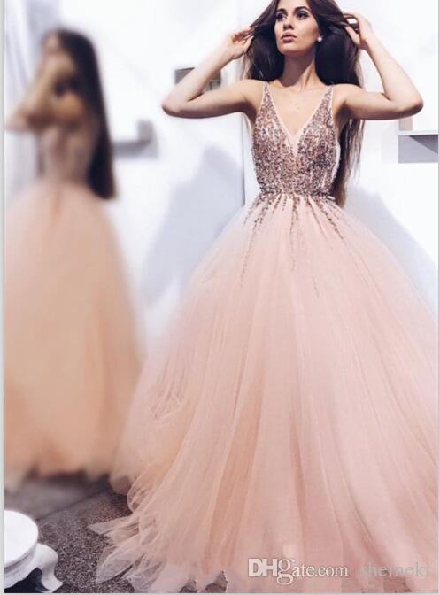ac3c2635c86 2018 Sexy V Neck Sleeveless Tulle A Line Prom Dresses Appliques Stones  Beaded Top Floor Length Party Evening Dresses Custom Made Long Sequin Prom  Dresses ...