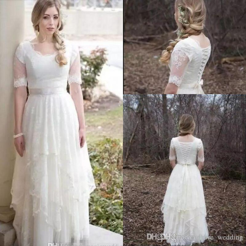 Modest Country Wedding Dresses A Line Scoop Lace Appliques Asymmetrical Layered Floor Length Tulle Boho Wedding Bridal Gowns Robe De Mariee