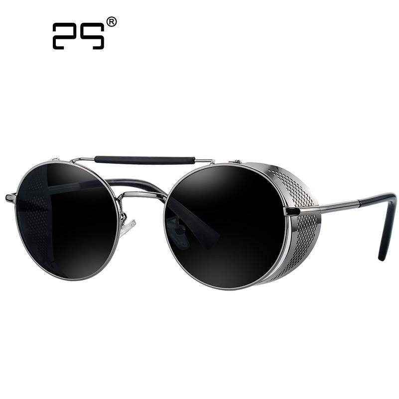 COLECAO Steampunk Sunglasses Mens Round Sunglasses Men\'s Glasses ...