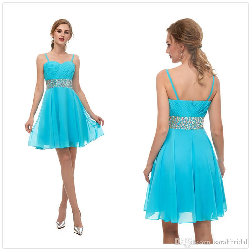 2618a32d045 2018 Cheap Blue Short Prom Dresses Chiffon Homecoming Dresses A Line  Sweetheart Girls Party Gowns With Beaded In Stock Size 2 16 13669 Von Maur  Prom Dresses ...