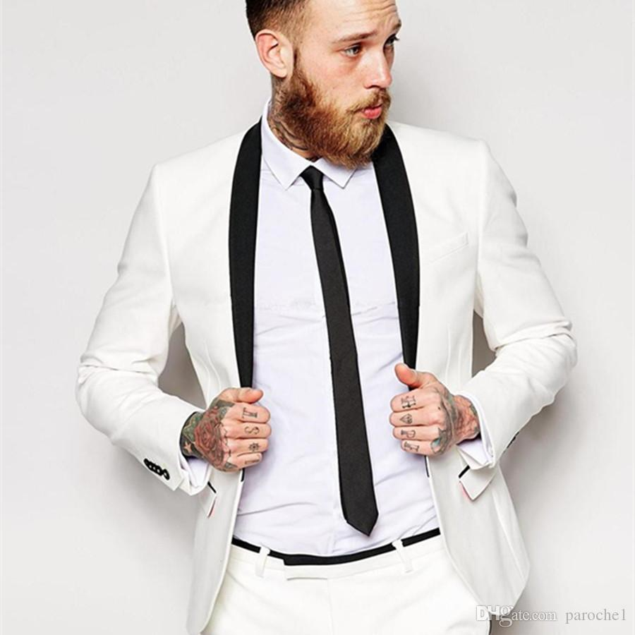 2019 White Tuxedo Suits with Black Shawl Lapel Wedding Groom Suits Custom Made Groomsmen Best Man Prom Suits (Jacket+Pants)