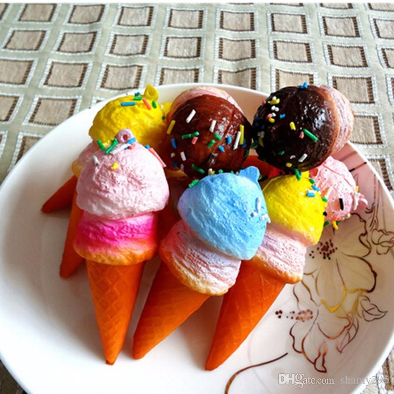 10cm New Cute Soft Jumbo Ice Cream Cone squishy slow rising Cell phone Straps Bread Scented Key Chains Charms wholesale 2018