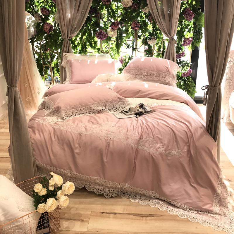 100s Pima Cotton Pink Luxury Lace Embroidery Bedding Set Queen King Size  Duvet Cover Bed Linen Bed Sheet Pillowcases 4/Black Comforter Full Bargain  Bedding ...