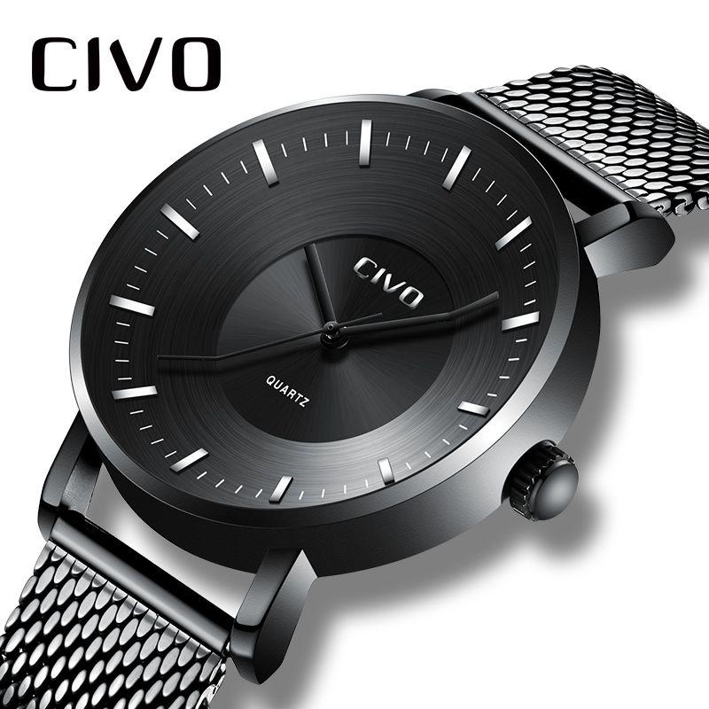 8c982a1c Compre CIVO Creativo Curvo Reloj Para Hombre Impermeable Reloj De Pulsera  De Malla Hombres De Moda Casual Analógico De Cuarzo Para Hombres Reloj  Montre ...