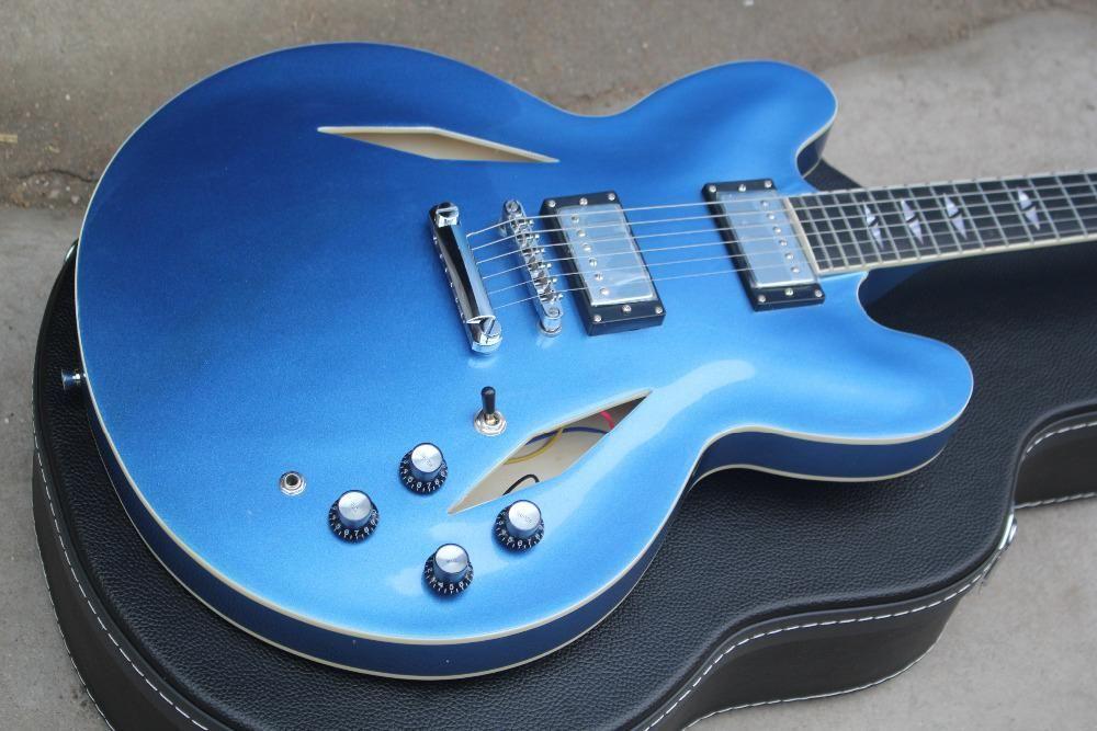 Hot WholOKale e Varejo Personalizado Metal azul DG335 Dave Grohl assinatura Semi HollowBlue JAZZ Guitarra Elétrica com case-17-11