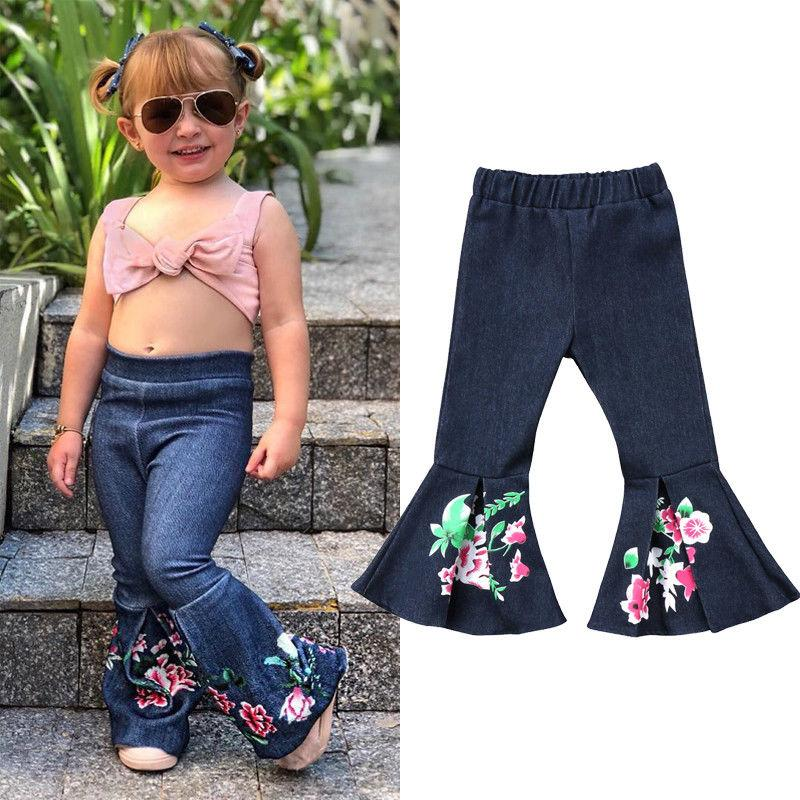 4259520a92 2018 New Casual Kid Denim Flare Pant Kids Baby Girl Bell Bottom Pants Floral  Print Hit Color Denim Wide Leg Jeans Trousers 1 6T Boys Black Cords Toddler  ...