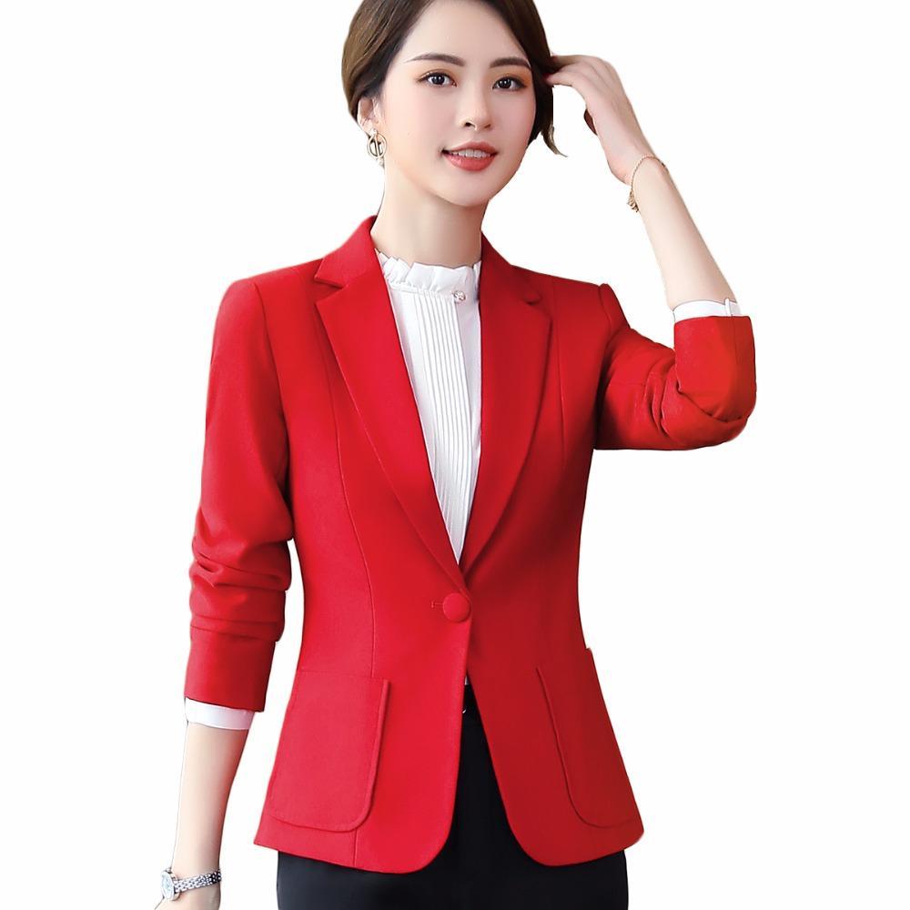 61b5331e50 Compre Senhoras Do Escritório Plus Size 5XL Desgaste Do Trabalho Casaco  Mulheres Blazer Preto Amarelo Marrom Vermelho Inverno Elegante Formal Manga  Longa ...