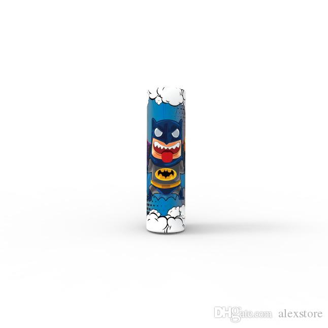 Cute Superhero Captain American Batman Spiderman 18650 20700 21700 Battery PVC Skin Sticker Vaper Wrapper Cover Sleeve Heat Shrink Wrap Vape
