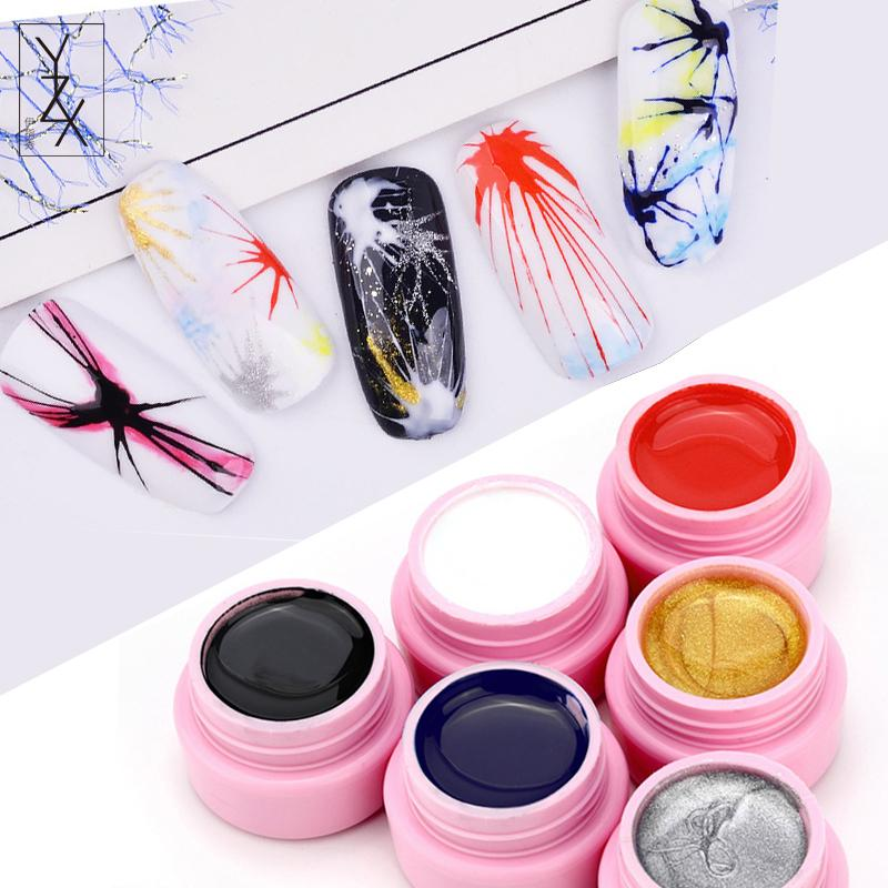 YiZhiXiu 1pcs Micro Carved Painting UV Nail Gel ink Drawing Freehand Sculpture Sweater Designs Acrylic Nails Manicure Soak Off